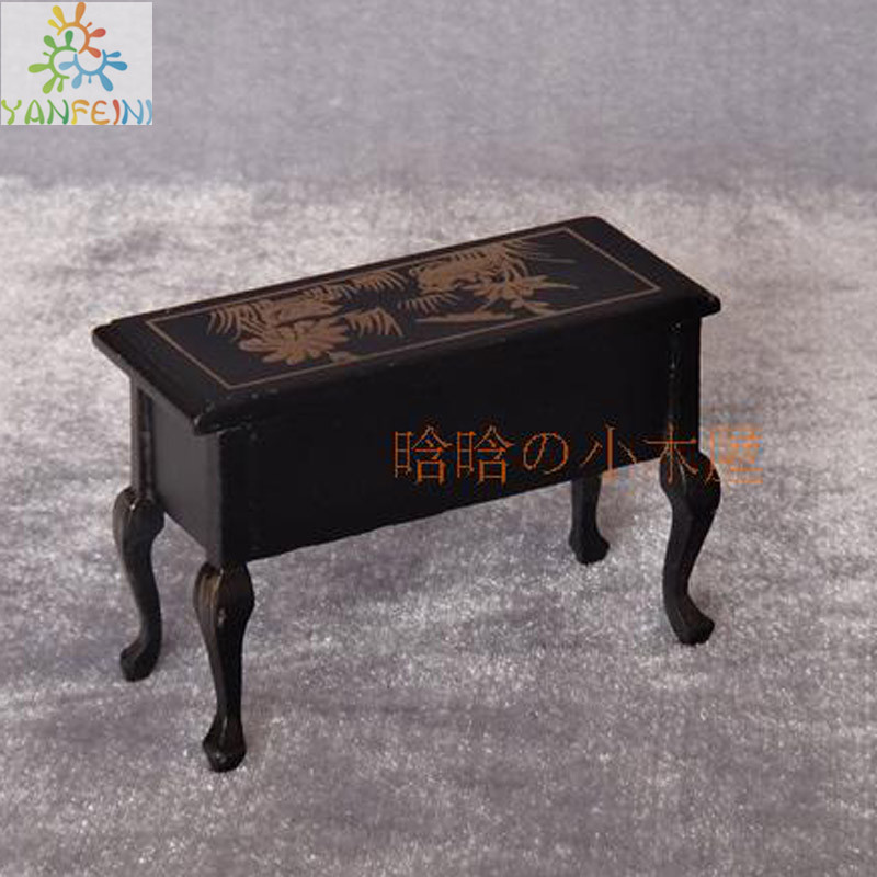 Living Room-Retro coffee table black desk dollhouse miniatures 1/12 scale  CT08 brinquedos