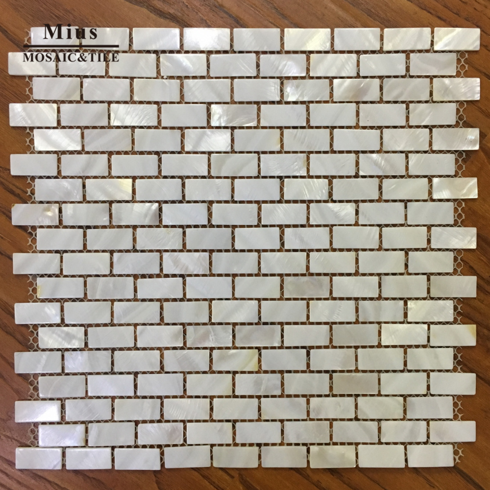 Brick pattern super white Pearl of mother mosaic shell tile hot sale fashion sea shell mosaic tiles mother of pearl super quality wall mosaics tile natural luxurious noble abalone shell