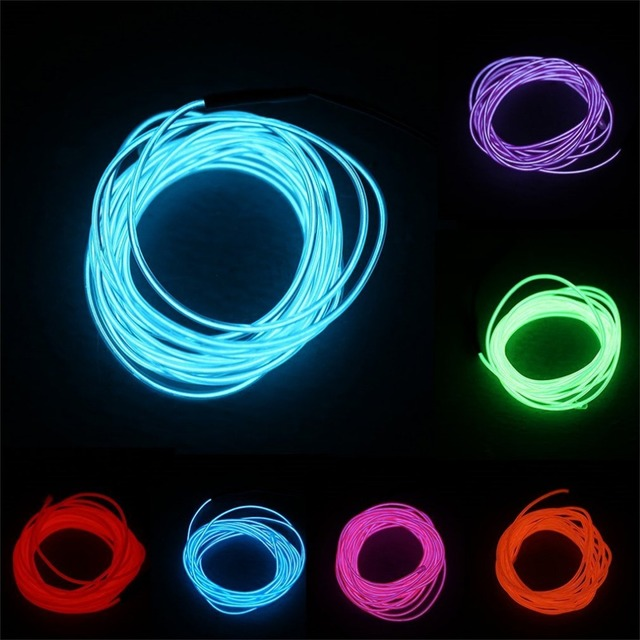 new 5 Color 5M Flexible Neon Light Glow EL Wire Rope Tape Cable ...