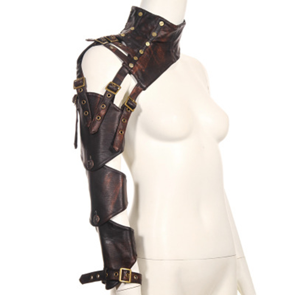 Brown PU Leather Changeable Sleeve Steampunk Arm Sheath Vintage Armor Arm Warmer Cosplay Corset Costume Accessories