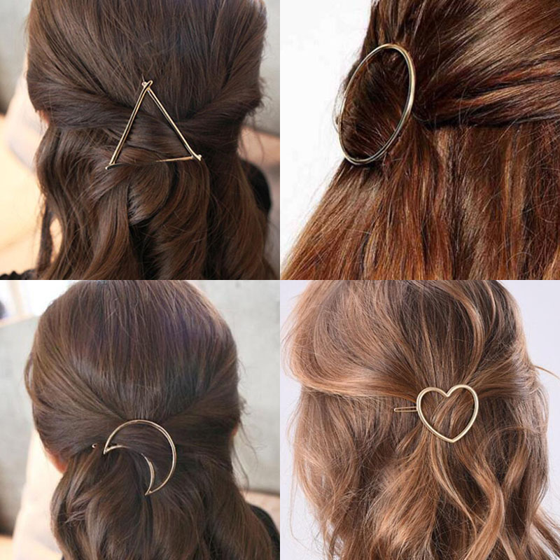 SMJEL Fashion Summer Hollow Round Triangle  Hairpins Women Girls Party Accessories Love Heart Moon Barretes Hair Clips