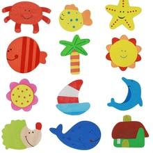 12 pçs / lote Colorido Animal De Madeira Dos Desenhos Animados Geladeira Adesivos Crianças Brinquedos Imã de geladeira para Crianças Educação Do Bebê 40% de desconto