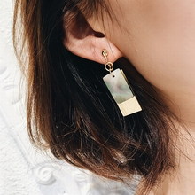Фотография Rectangle Design Natural Black Pattern Shell Geometric Vintage Clip Earrings Double Layers Gold-color No Pierced Earrings
