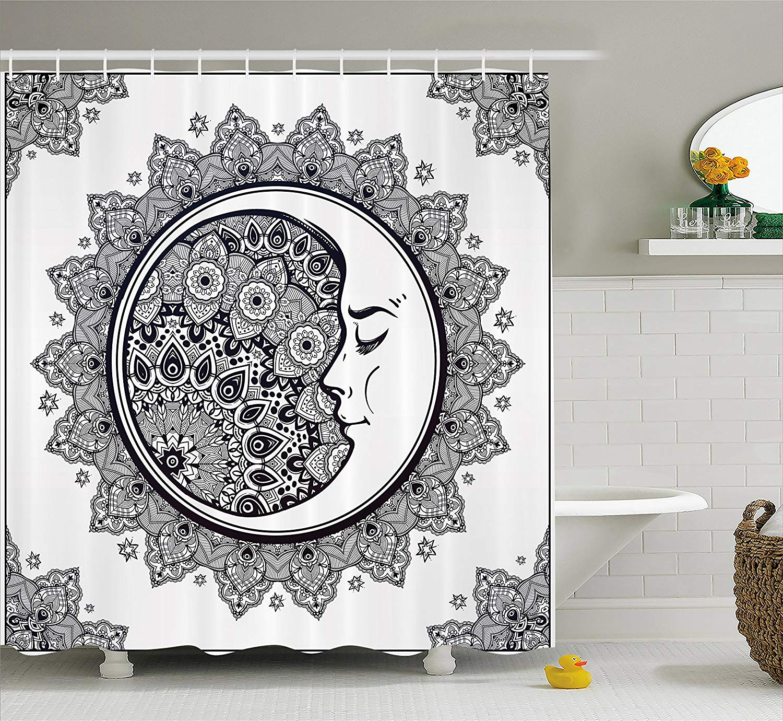 Zodiac Shower Curtain Intricate Boho Ethnic Mandala Form with ...