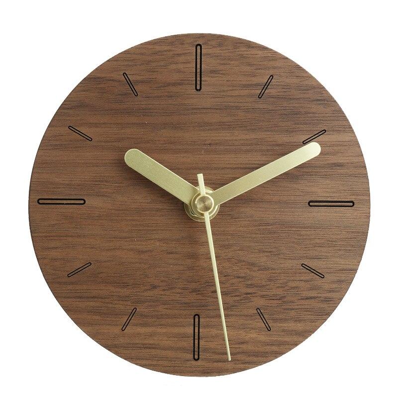 Simple japon muet bois horloge murale aiguille Table pendule horloge minimaliste créatif maison bureau décoration Klok montre maison 50w355