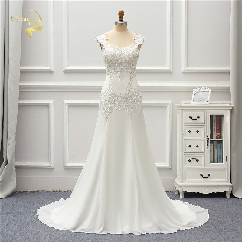 Jeanne Love Chiffon Wedding Dress 2019 Beads Applique Lace Robe De Mariage JLOV75997 Vestido De Noiva Brida Dresses Wedding Gown