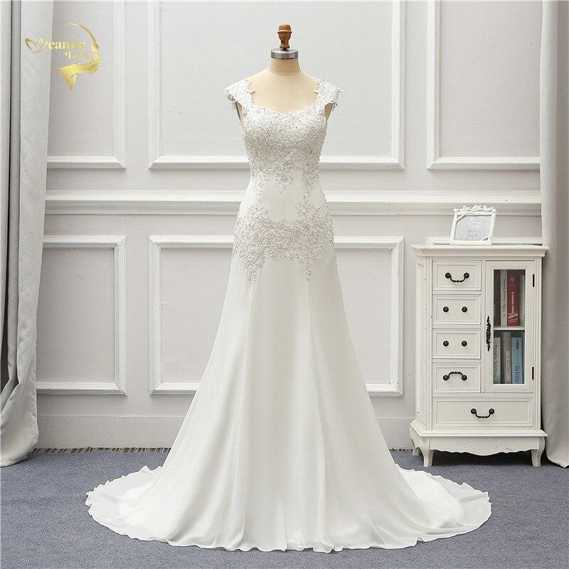 Jeanne Love Robe De mariée en mousseline De soie 2019 perles Applique dentelle Robe De Mariage JLOV75997 Vestido De Noiva Brida robes Robe De mariée