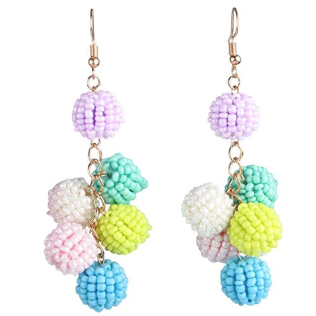Claire Jin Grape Cluster Ball Drop Bohemian Earrings for Women Boho Jewelry Manual Small Beads Handmade Ethnic Vintage Earring
