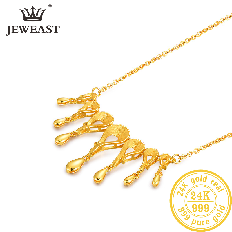 ebaf350b99ae2 24K Pure Gold Necklace Real AU 999 Solid Gold Chain Beautiful Leaf Upscale  Trendy Classic Party Fine Jewelry Hot Sell New 2019