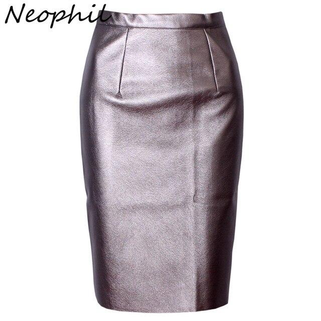Neophil 2017 Sexy Faux Fur Cuero de la Pu de La Alta Cintura Midi Mujeres Faldas lápiz Oficina Pink Wrap Bodycon Corto Tutú Saia S08019