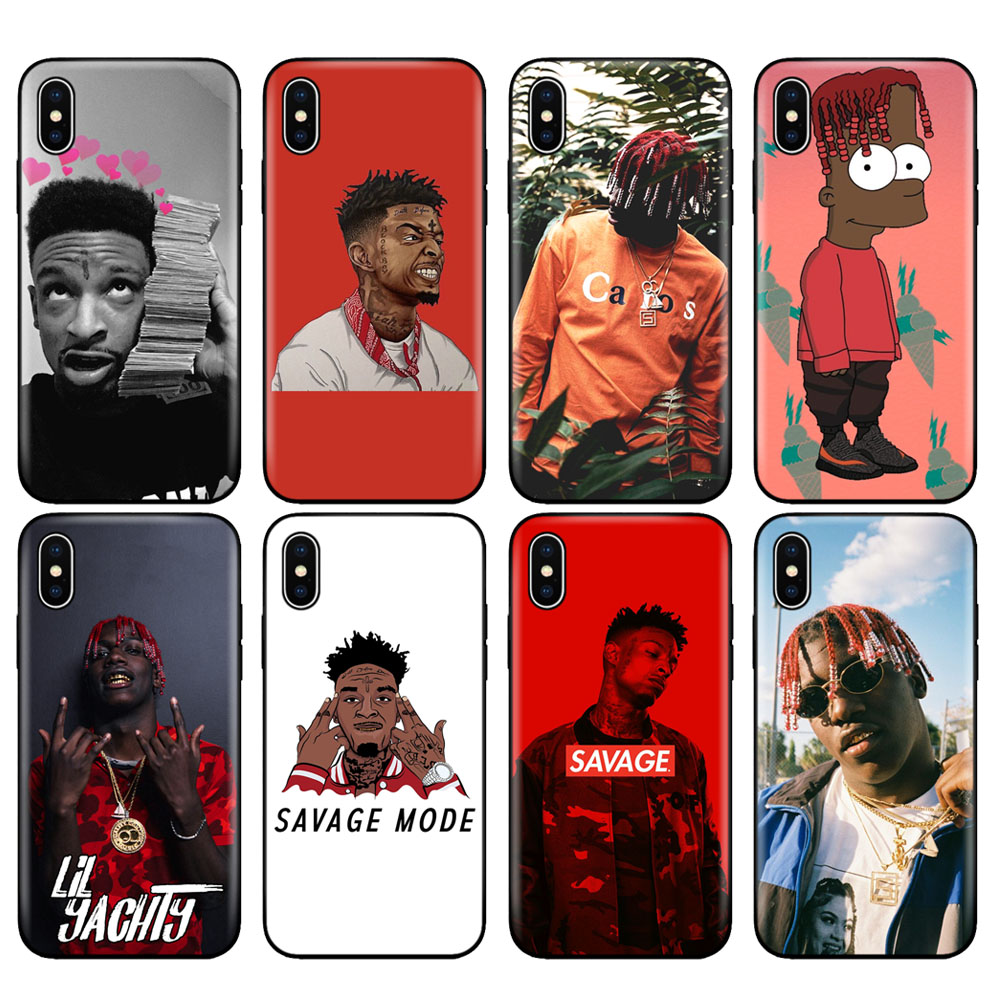 Black tpu case for iphone 5 5s se 6 6s 7 8 plus x 10 case silicone cover for iphone XR XS 11 pro MAX case lil yachty <font><b>21</b></font> <font><b>savage</b></font> image