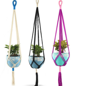 Image 4 - Retro Macrame Plant Hanger Garden Flower Pot Holder Hanging Rope Basket Decor Hanging Basket Wall Creativity