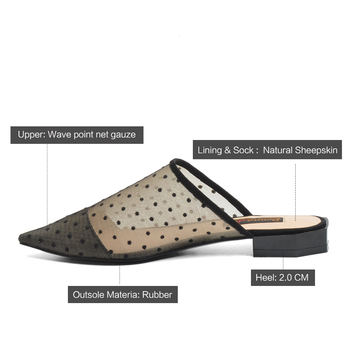Donna-in Sexy Mesh Women Mules Pointed Toe Slippers Polka Dot Fashion Low Heels Designer Luxury Summer Shoes ladies Clearance 4