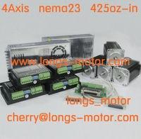 US/DE ship 4axis Nema23 stepper motor 425oz 23HS9430 & stepper motor driver DM542A CNC 350W POWER new Longs Motor