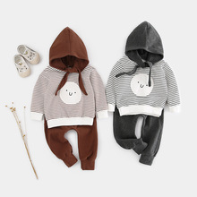 2019 New Newborn 2pcs Baby Boy Girl Clothes Set Animal Printed Striped T shirt Pants Outfits Dropshipping