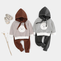 2019 New Newborn 2pcs Baby Boy Girl Clothes Set Animal Printed Striped T shirt Pants Clothes Outfits Dropshipping Baby Clothes