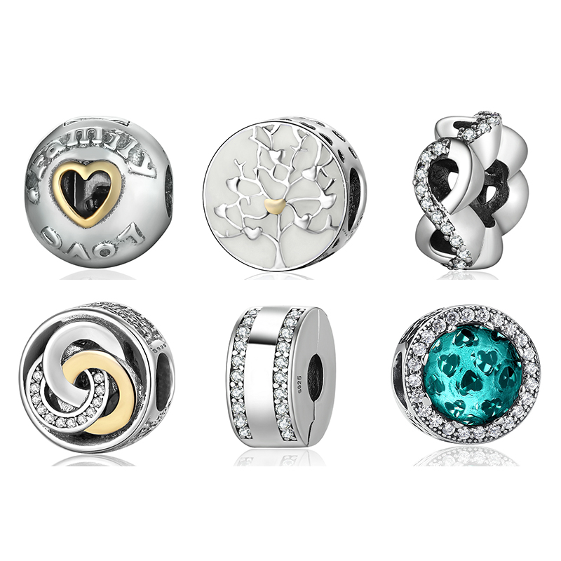 925 Sterling Silver Charm Family & Love Round Charm Beads Fit Charms Pandora Bracelets & ...