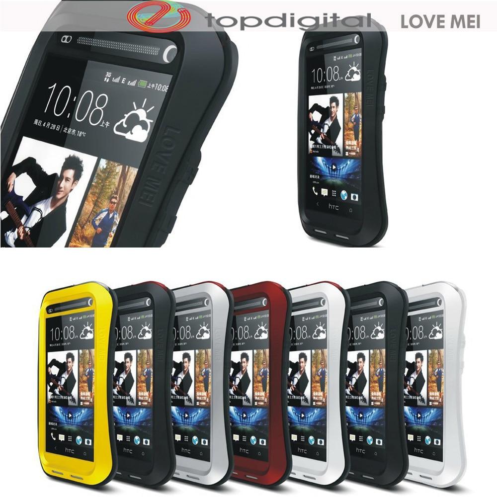 imágenes para AMOR MEI Armor Case para HTC Uno M7 Impermeable A Prueba de Golpes de Metal Teléfono Caso Duro de la cubierta para HTC M7 Protector de Pantalla de Cristal Templado