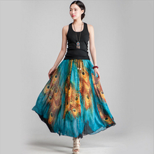 Summer Style Female Skirts High Waist Ball Gown Vintage peacock Floral Print Pleated Skirt Long Umbrella