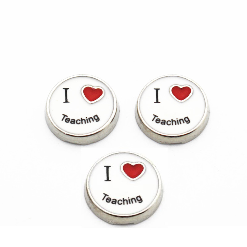 Hot Sale 10pcs/lot Metal Enamel I Love Teaching Floating Charms For Living Glass Lockets Necklace Teachers Day Gift Jewelry