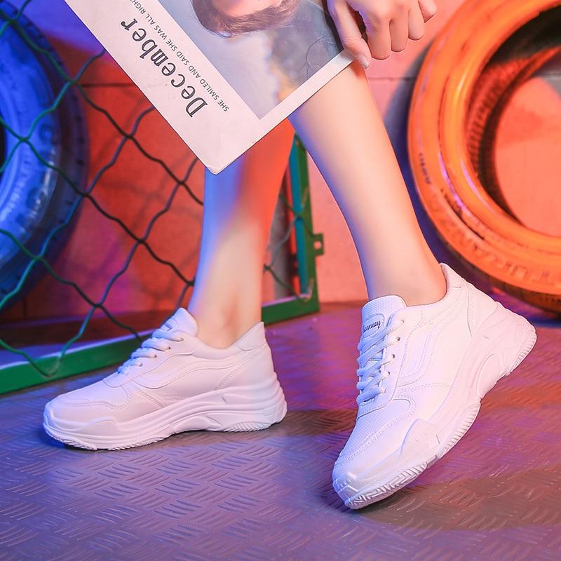 Épais Semelles Dames Vulcanisées Bas Noir blanc Lacets Décontractées De argent À Tennis Marche Chaussures Mode Femme Compensées Femmes 2019 fAqw700