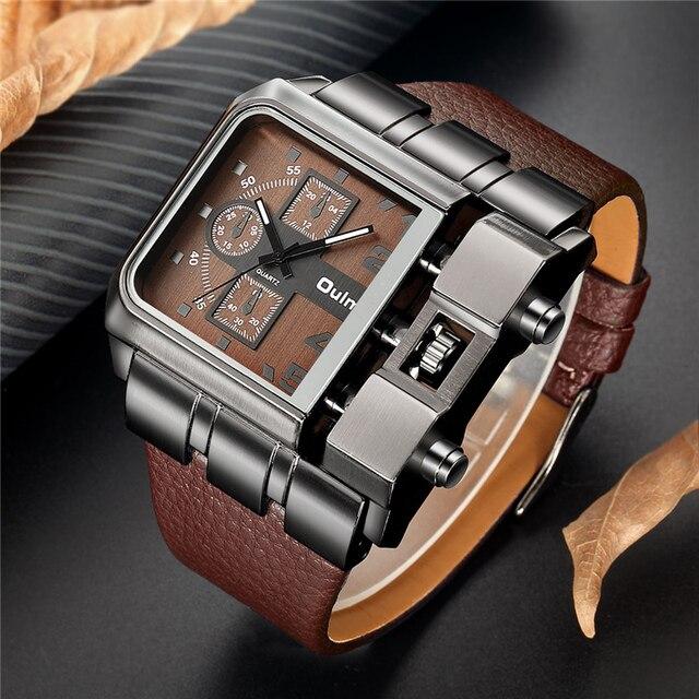 Oulm 브랜드 오리지널 독특한 디자인 스퀘어 남자 손목 시계 와이드 빅 다이얼 캐주얼 가죽 스트랩 쿼츠 시계 남성 스포츠 시계