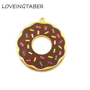Image 2 - ( Choose Color First )  41mm 10pcs/lot Alloy Doughnut , Full Enamel Donut Pendants For Kids Jewelry Making
