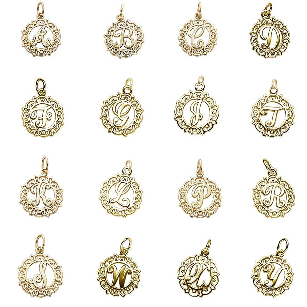 Minimal Gold Color Initial Letter Diy Charm Alphabet A B C D F G I J K L P  R S W X Y Jump Ring Charms For Jewelry Making 50pcs