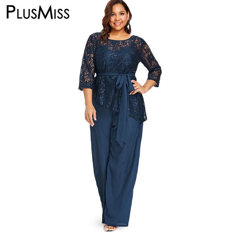 PlusMiss Plus Size 5XL Vintage Lace Crochet   Jumpsuit   Romper Wide Leg Long Palazzo Pants Party Overall Macacao XXXXL XXXL XXL