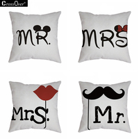 4 Pattern 45 45CM Cotton Linen MR MRS Cushion Cover High Quality For Car Sofa Home