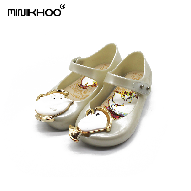 Mini Melissa Original Cups Pattern Beauty Beast Girls Jelly Sandals 2018 Baby Jelly Sandals Children Shoes Melissa High Quality