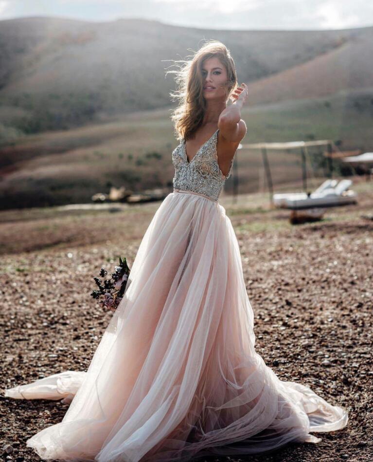 Bridal Gowns For A Beach Wedding: Robe De Mariee 2019 Beach Wedding Dress V Neck Modern A