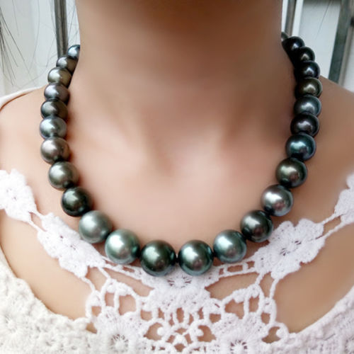 Perfect AAA 14mm round tahitian multicolor pearl necklace silver clasp image