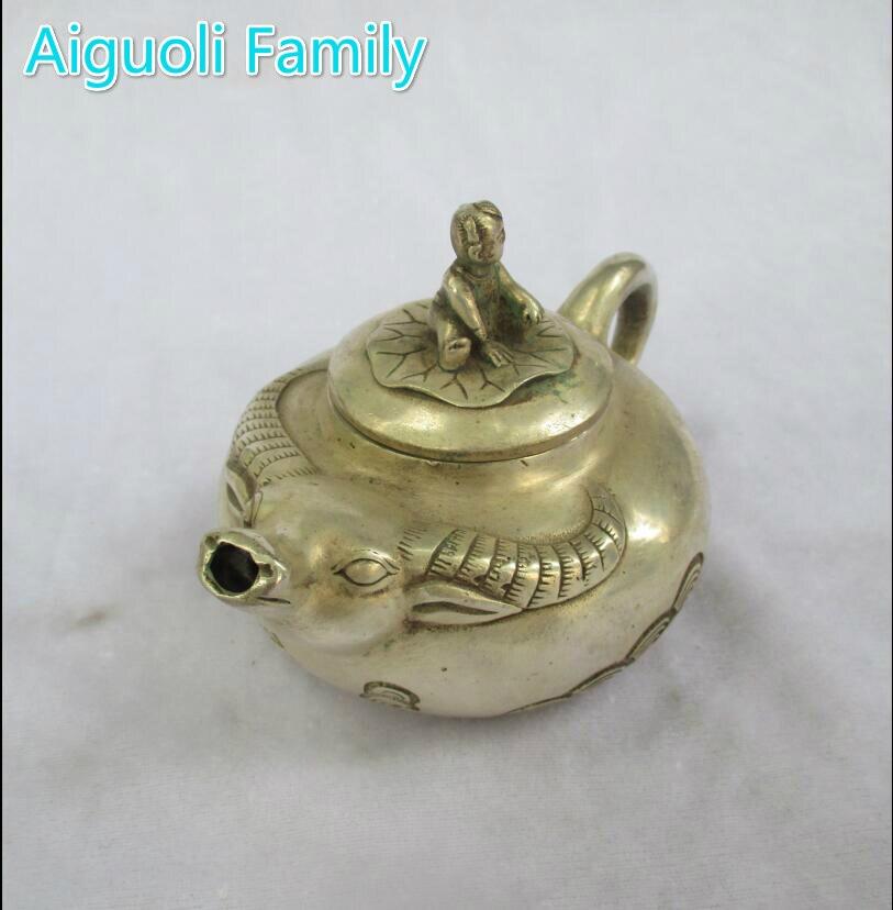 Художественная коллекция Старый китайский, ручной работы Тибет Серебряный бык чайник/металлический чайник ремесло для украшения дома