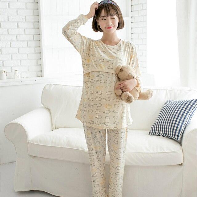 Pregnant Women Maternity Pijama Hamile Pijama Pregnant Pajamas Maternity Nursing Nightgown Sleepwear Cotton Summer 70M092