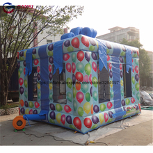 free shipping dia 3m 0 9mm inflatable water trampoline water jumping bed jumping trampoline free 1 blower Newest inflatable bounce house 3m*3m*3m gift box style trampoline factory price inflatable bouncer castle jumping house