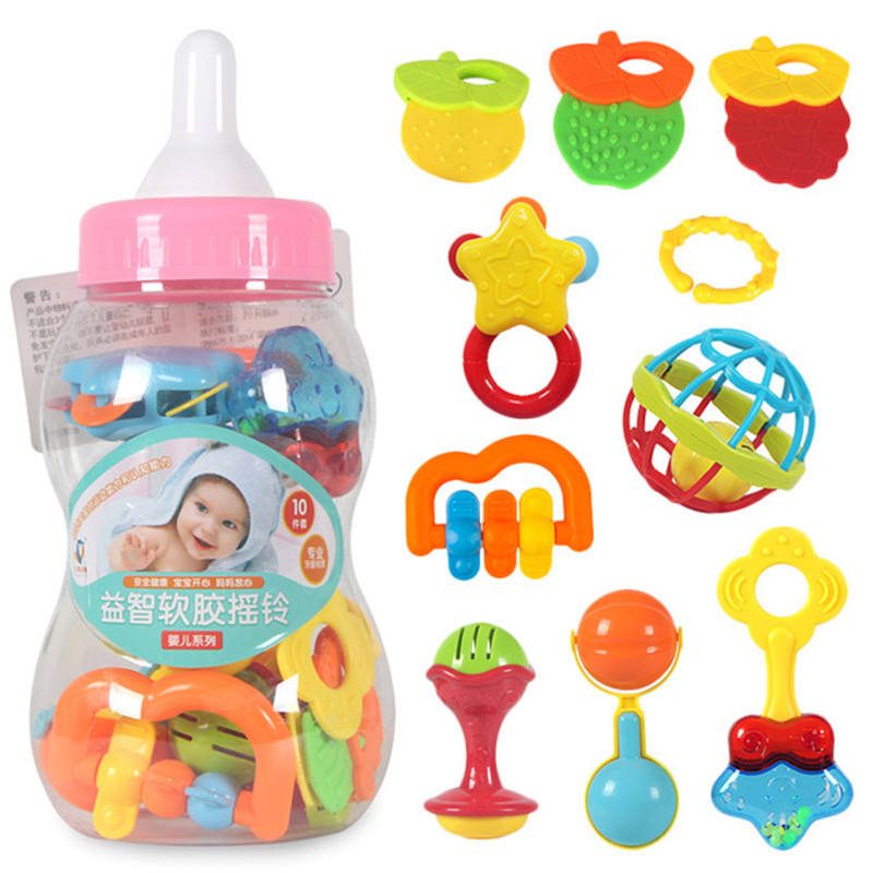 0-12 Month 10pcs Baby First Rattles Toys  And Teether  Toy With Giant Milk Bottle Grasp Kids Educational Toys For Children
