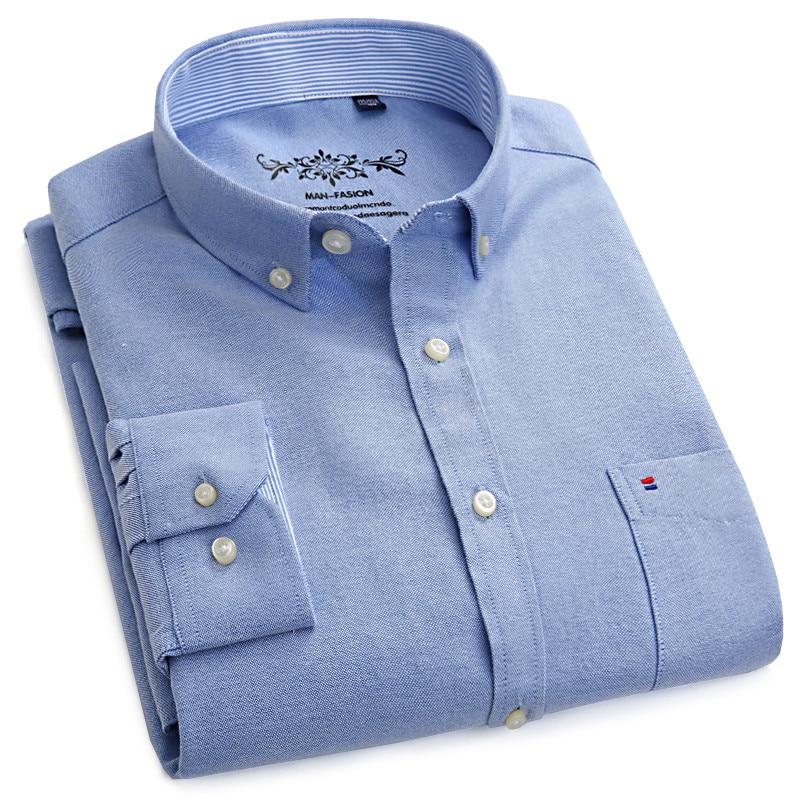 Los hombres de manga larga Oxford azul vestido de camisa con bolsillo en el pecho izquierdo de algodón Hombre Casual sólido botón camisas 5XL 6XL de gran tamaño