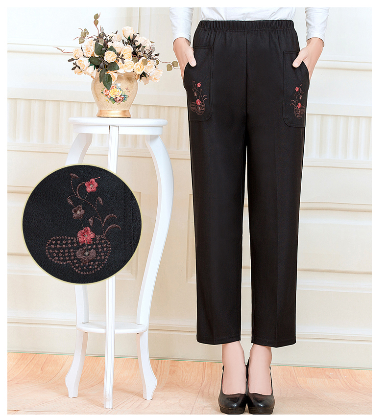 WAEOLSA Chinese Middle Aged Woman Black Pant Autumn Elderly Women Embroidery Trouser Mother Casual Pant 40S 50S 60S (11)
