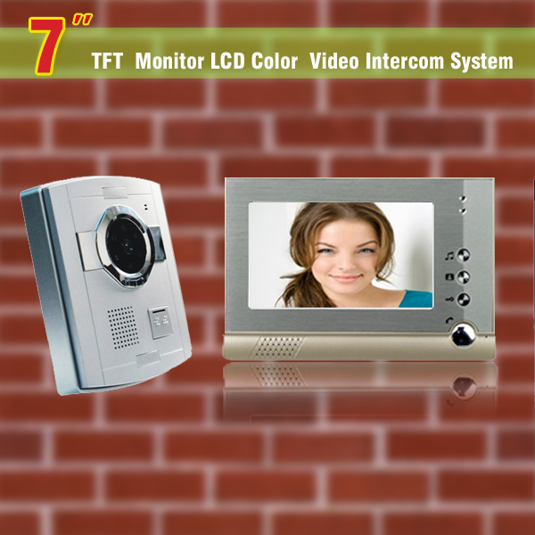 1 Camera 1 Monitor 7 tft video intercom door bell color wired video doorphone intercom system doorbell camera intercom monitors 7 inch video doorbell tft lcd hd screen wired video doorphone for villa one monitor with one metal outdoor unit night vision