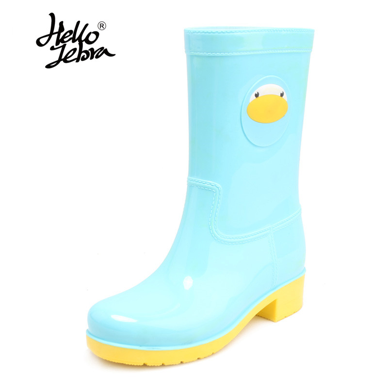 Hellozebra New Arrival PVC Ankle Rain Boots Women Waterproof Cartoon Yellow Blue Green Pink Rainboots Woman Wellies Water Shoes free drop shipping new vogue adult women fashion rainboots pvc rain shoes buckle water rubber boots wellies bargin price black