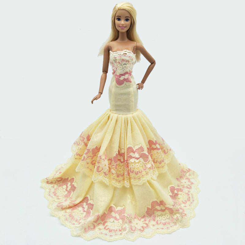 ... Light Yellow 2-layers Lace Mermaid Doll Dress For Barbie Doll Clothes  Fishtail Party Dress ... c779e753c513