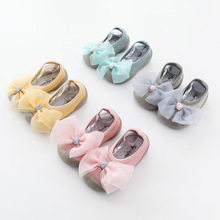 Новые детские Нескользящие носки-тапочки на весну и лето 19 лет носки для малышей латексные носки короткие носки с бантом