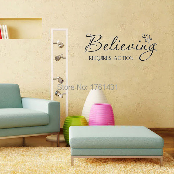 Believing Require Action wall art decals living room decoration ...