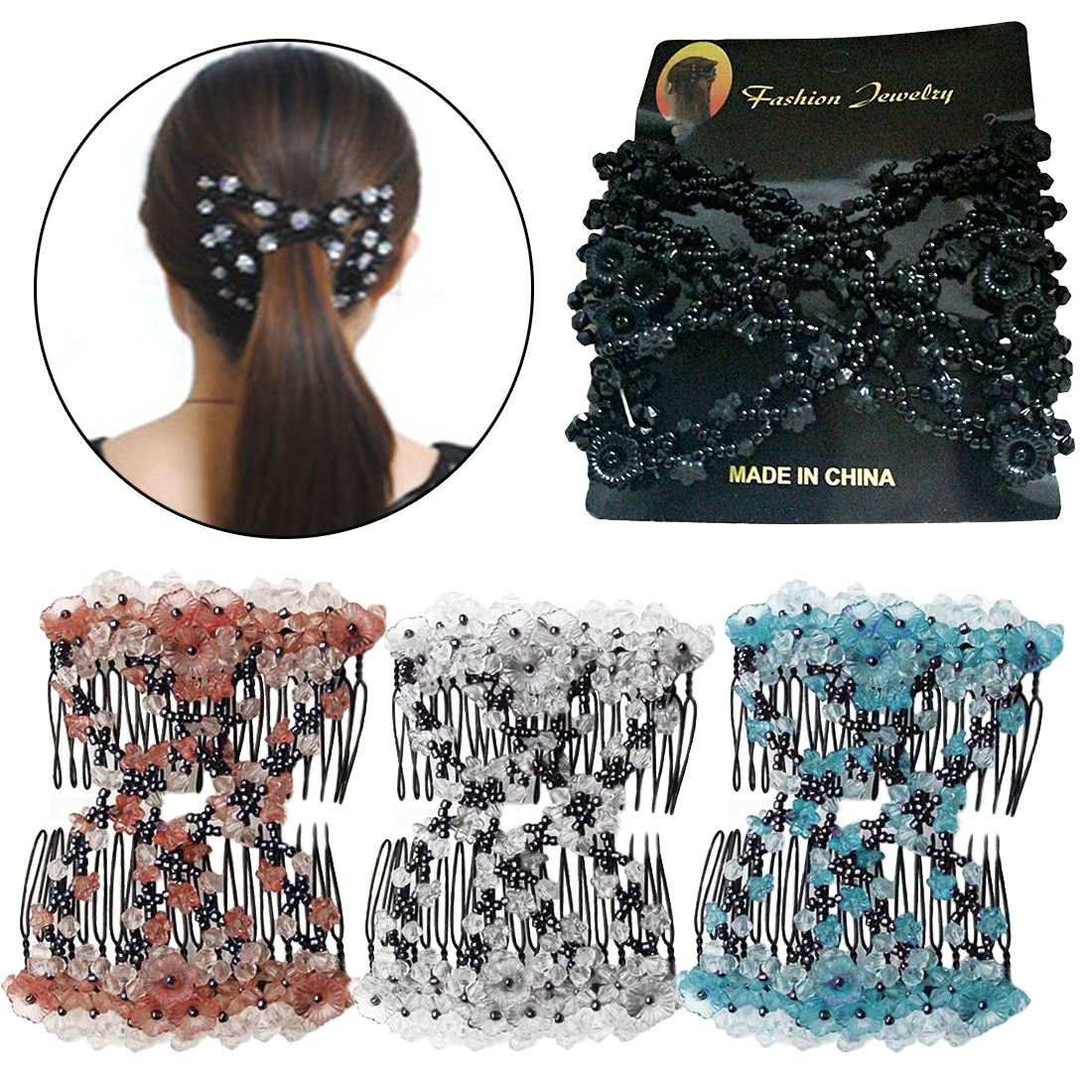 Fashion Hair Style Hairpin DIY Retro Headband Elastic Magic Hair Comb Hair Changer Hairpin Magic Comb Female Hair Accessories