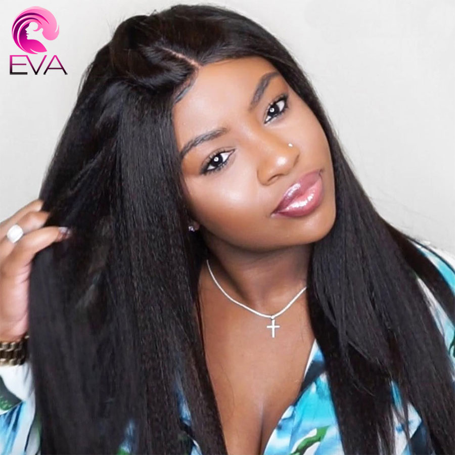 Eva Hair Glueless 360 Lace Frontal Wigs Pre Plucked With Baby Hair Brazilian Yaki Straight Remy
