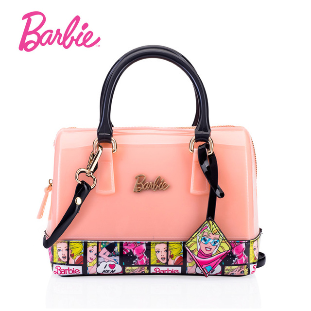 Barbie 2018 New Fashion Women Shoulder Bags Jelly Bag Leather Handbags Pink Color Patchwork Female