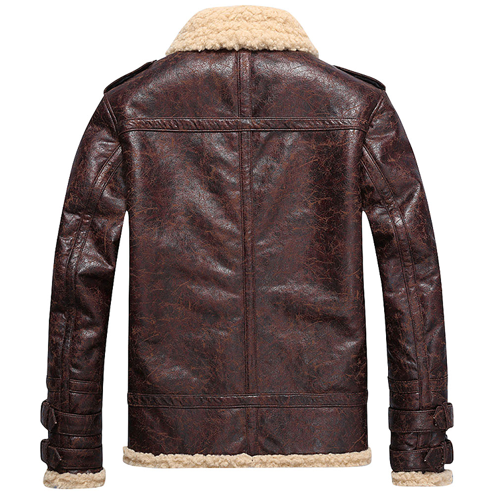66dc5a03e Brand Fashion Mens Vintage Leather Jackets Faux Lamb Fur Fleece Bomber  Flight Jacket Male Winter Warm Fur Lining Zipper Coats-in Jackets from Men's  Clothing ...