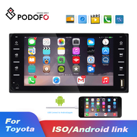 Podofo 2 Din Car Radio Car Multimedia player 7'' Autoradio Android Mirror link For Toyota Corolla Bluetooth Audio Radio Stereo