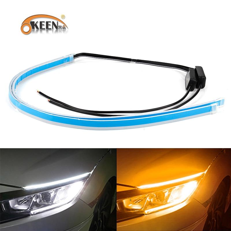 OKEEN 2Pcs Flexible DRL Daytim Running LED Knight Rider Strip Light For Headlight Sequential Flowing Amber Turn Signal Lights